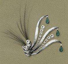 Dessin broche Camille Bournadet 1931 Bijoux Art Nouveau, Art Nouveau Jewelry, Jewelry Art, Fine Jewelry, Jewelry Ideas, Gem Drawing, Drawing Pin, Custom Jewelry, Vintage Jewelry
