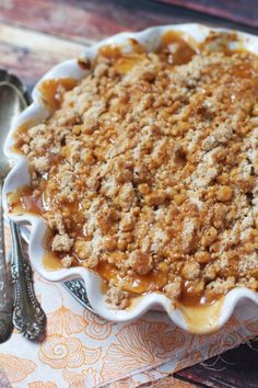 Salted Caramel Apple Crisp via The Baker Chick