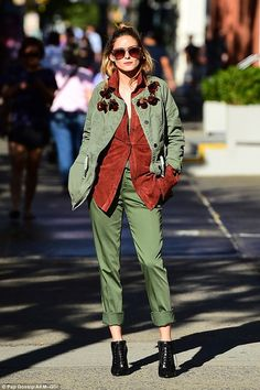 So chic: Her second outfit was a little more daring and edgy, opting for bold colours