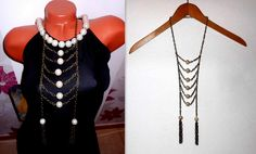 Irregular long statement necklace with beads and tassels