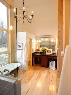 A light & airy master bathroom with natural features & maple hardwood - love! http://www.lumberliquidators.com/ll/s/Bellawood%20Natural%20Maple