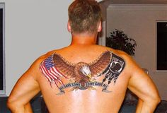 Back piece honoring Prisoners of War and Missing in Action. #InkedMagazine #eagle #tattoo #army #Inked #tattoos