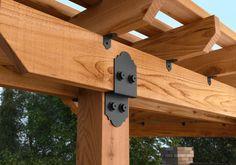 "OZCO Project #334 - 10x10x16 Corner Pergola Laredo Sunset 56610 8"" Post to Beam Diy Pergola, Building A Pergola, Pergola Canopy, Metal Pergola, Deck With Pergola, Cheap Pergola, Wooden Pergola, Outdoor Pergola, Pergola Shade"