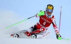 Marcel Hirscher of Austria competes on his way to clock the second fastest time during the first run of an alpine ski, men's World Cup slalom in Are, Sweden, Sunday, Dec. 14, 2014. (AP Photo/Giovanni Auletta)