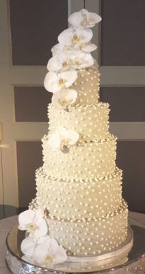 Unique White Studded Orchid Topped Wedding Cake