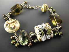 Lampwork Victorian Tapestry Ivory Honeybee bracelet by kerribeads, $295.00