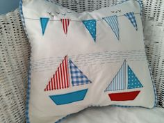 "Sailing Boats and Flags Cushion Cover 14x14"" Beautifully Handmade"