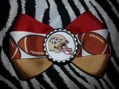 Sporty Bottlecap Bowtie NFL Football San Fransico 49ers Logo Hair Bow ~ Free Shipping ~ Bows By Kittak $4