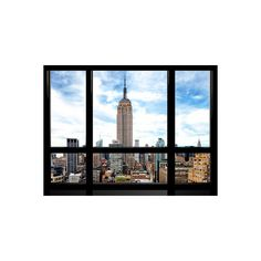 Window View, Special Series, Urban Skyline, Empire State Building,... (1,690 MKD) ❤ liked on Polyvore featuring home, home decor, wall art, nyc wall art, photography wall art, window poster, new york city home decor and photographic wall art
