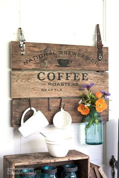 #2. Reclaimed wood sign done with a stencil / 6 ways to make a vintage coffee station... upcycled style! By Funky Junk Interiors for ebay.com