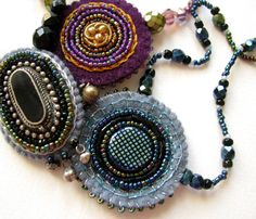 Dark night necklace felt jewelry with bead by VesztlFanni on Etsy, $24.00