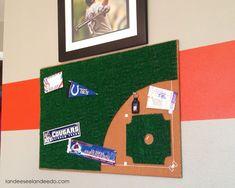 DIY Baseball Diamond Bulletin Board - A Little Craft in Your Day #teencraft