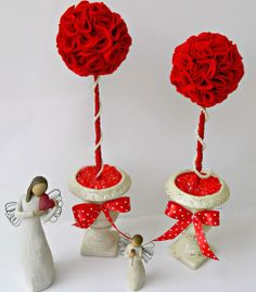 37  DIY Valentine's Day Decorations - Felt Roses Topiary  - Valentine's Day Home Decorations Ideas