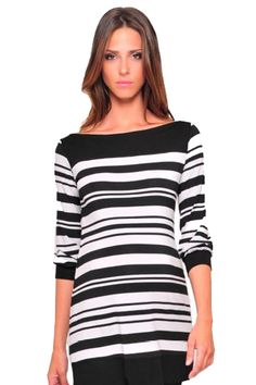 Olian 3/4 Sleeve Boatneck Maternity Tunic Top - Stripes | Maternity Clothes Available at Due Maternity www.duematernity.com