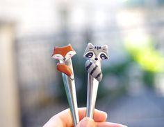 Fox and raccoon ice cream spoon, kawaii fox, cute raccoon spoon, forest friends, forest animals