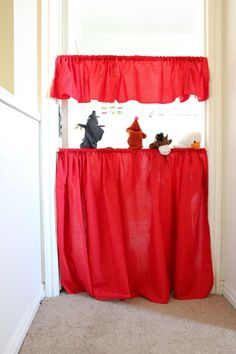 delia creates: Red: Tension Rod Puppet Theater - not as cute as some others I've seen but so much more likely that I'd make it and it'd get used while my children are still young!