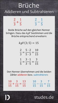 Add and subtract fractions: To add or subtract two fractions to Mathematik
