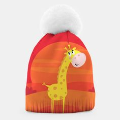 Amazing Beanie with Yellow Giraffe on Red, Live Heroes Unique Image, Beanies, Giraffe, Make It Yourself, Live, Yellow, Amazing, Winter, Creative