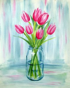 Found on Bing from au.pinterest.com Pictures To Paint, Flower Vase Drawing, Tulip Drawing, Flower Art, Lake Painting, Pink Painting, Painting & Drawing, Local Bars, Tulip Watercolor