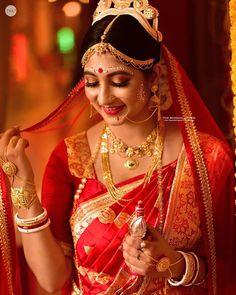 The Wedding Canvas ( Bengali Bridal Makeup, Bengali Wedding, Bengali Bride, Indian Bridal Photos, Indian Bridal Outfits, Indian Wedding Couple Photography, Bride Photography, Wedding Girl, Wedding Dresses For Girls