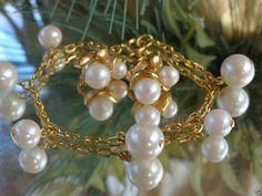 VTG 1980s DESIGNER Gold GP Faux Pearl Bobble Charm Bracelet & Earrings Set Jewel #Unbranded #SetVINTAGEDemiParureJewelry