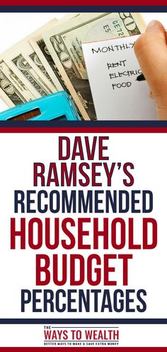 Dave Ramsey Recommended Household Budget Percentages - Finance tips, saving money, budgeting planner Budget App, Planning Budget, Monthly Budget, Living On A Budget, Family Budget, Frugal Living, Dave Ramsey, Budgeting Finances, Budgeting Tips