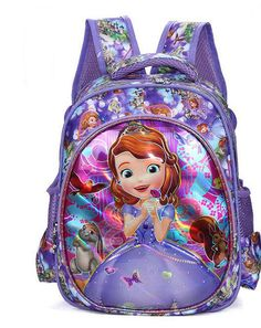 Lovely Cartoon Sofia the First Pattern Backpack Children Kid School Bag  Girls Bags Nylon Backpacks Kids b91cce912902b