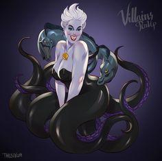 Voici une nouvelle série de l'illustrateur Andrew Tarusov avec ces méchantes de Disney en pin-up.
