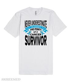 Testicular Cancer Never Underestimate The Strength and Power of a Cancer Survivor inspirational slogan on shirts, apparel and gifts featuring a text design, banner and an awareness ribbon #TesticularCancerAwareness