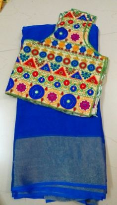 Georgette Sarees With Semi Stitched Blouses   Buy online Sarees   Elegant Fashion Wear