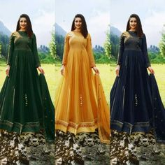 Anarkali Salwar Suit Fancy Faux Georgette Gown With Designer Embroidery Work DS