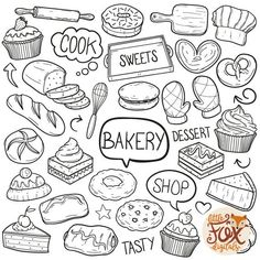 EPS BAKERY Bakery Shop Desserts and Sweets Food Grandma Doodle Icons Clipart Scrapbook Set Coloring hand Drawn Pastry Sketch Scribble PNG, ¿Quieres hacer postres en casa pero absolutely no dispones delaware horno to no . Doodle Wall, Food Doodles, Rosario Vampire, Doodle Icon, Simple Doodles, Food Drawing, Bullet Journal Inspiration, Art Design, Easy Drawings