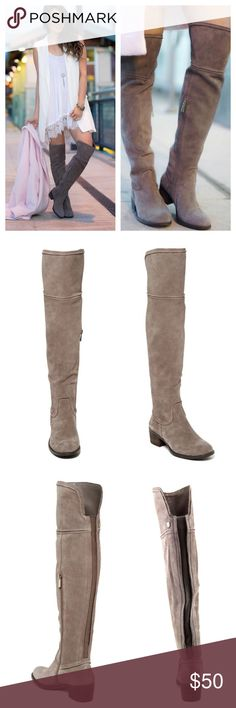 "Vince Camuto Over the Knee Boots The Vince Camuto OTK Boots feature a Suede upper with a Round Toe . Worn twice and treated with suede protectant to prevent stains/water damage.  Color: Mouse Gray Material: Suede Measurements: Shaft measures 20"", Circumference measures 12"" and 2"" heel Width: B(M) Vince Camuto Shoes Over the Knee Boots"