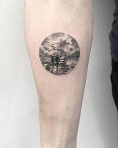 Jim Warren's Stairway to Heaven inspired circle tattoo on the right inner forearm. Artista Tatuador: Eva krbdk