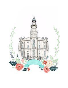 St. George Utah Temple, Latter Day Saint, LDS, mormon, Anniversary gift, Wedding present, wall art, relief society decor, flower wreath, art