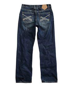 Blue Chain-Stitch Straight-Leg Jeans - Men's Regular
