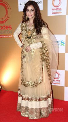 Dia Mirza at Vikram Phadnis' show for Ronnie & Zarina Screwvala's Brilliant Rural #NGO http://www.SwadesFoundation.org/