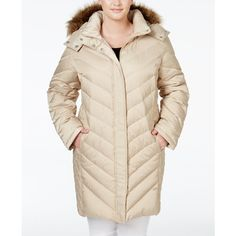 Kenneth Cole Plus Size Faux-Fur-Trim Chevron Quilted Down Puffer Coat ($100) ❤ liked on Polyvore featuring plus size women's fashion, plus size clothing, plus size outerwear, plus size coats, champagne, plus size faux fur coat, faux fur trim coats, fake fur coats and plus size hooded coat