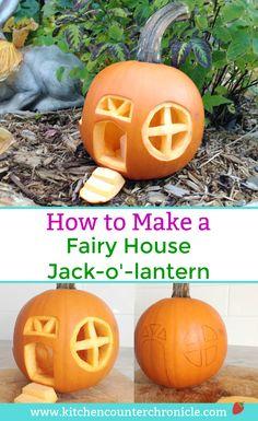 Fairy House Jack-O-Lantern - Transform your Halloween pumpkin into a fairy house jack-o-lantern. Invite fairies into your garden this Halloween. Small Pumpkin Carving Ideas, Amazing Pumpkin Carving, Pumpkin Decorating, Pumpkin Art, Pumpkin Ideas, Decorating Ideas, Halloween Pumpkin Designs, Halloween Pumpkins, Halloween Fun