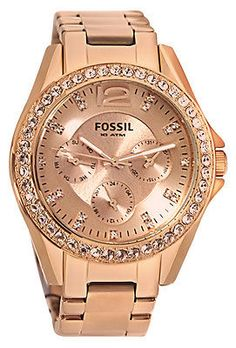 Fossil ES2811 Riley Rose Gold Dial Rose Gold Steel Bracelet Women Watch NEW