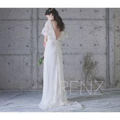 Wedding Dress Off White Chiffon Dress,V Neck Bridesmaid Dress,Lace Bodice Maxi,Illusion Sleeves Prom Dress,Open Back Evening Dress(HW332) by RenzRags on Etsy https://www.etsy.com/listing/488696637/wedding-dress-off-white-chiffon-dressv