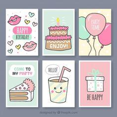 Set of hand drawn birthday cards Free Vector Creative Birthday Cards, Birthday Cards For Friends, Bday Cards, Handmade Birthday Cards, Happy Birthday Cards, Creative Cards, Printable Stickers, Planner Stickers, Cumpleaños Diy