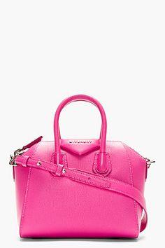 Givenchy Fuchsia Calfskin Antigona Sugar Mini Shoulder Bag for women | SSENSE.  $1595