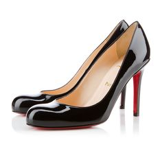 """The ever-graceful """"Simple Pump"""" is the shoe Monsieur Louboutin says every lady should have in her closet. Her round toe and sturdy stiletto heel make for a classic shape that glows from sunrise to sunset, and beyond. This 100mm version in black patent leather is a top choice for your collection."""
