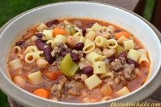 Pasta e Fagioli Soup ~ Tastes like Olive Garden's soup, loaded with veggies and simple to make!