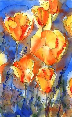 Poppy Watercolor Print orange and white poppy art by AlisaPaints