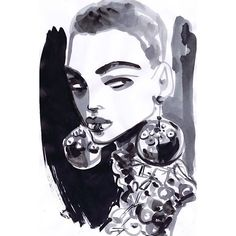 Eye Candy At PRADA . I love to work directly with ink on paper #fashion #fashionista #fashionart #artwork #paint #faces #model #painting #glam #goodvibes #ink #instafashion #illustrator #fashiondrawers #fashionillustration #earring #artsy #artist #chic #cool #fashionblogger #catwalk #runway @miumiu @mistermkan #prada