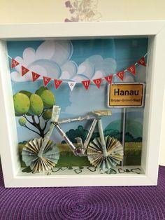 Hochzeitsgeschenk für Fahrradfahrer aus 14 Geldscheinen.