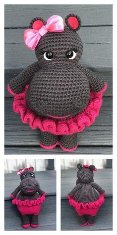 Amigurumi Cute Hippo Free Pattern - Modèles d& gratuits Doll Amigurumi Free Pattern, Pokemon Crochet Pattern, Crochet Bee, Crochet Mouse, Crochet Amigurumi Free Patterns, Crochet Animal Patterns, Stuffed Animal Patterns, Cute Crochet, Crochet Dolls