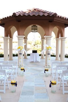 The gazebo in the Andalusian Gardens dressed in blues, whites and yellow   An Outdoor Theatre Inspired Wedding at Westin Lake Las Vegas   j anne photography   Design + Planning @Scheme Events